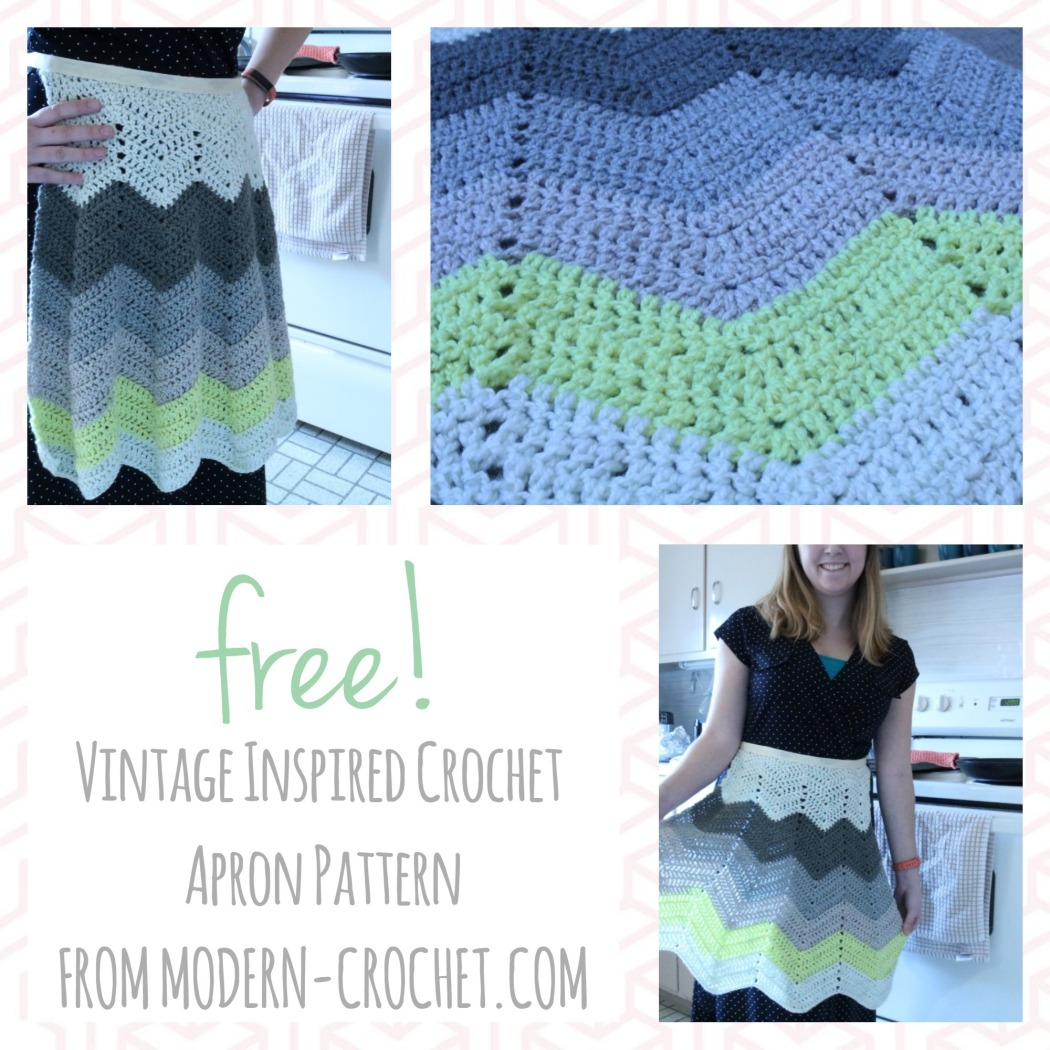 Free vintage inspired crochet apron pattern from Modern Crochet. Use less than one skein of Caron Cakes yarn to make this adorable apron.